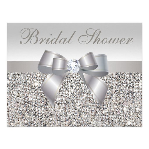 Printed Silver Sequins Bow & Diamond Bridal Shower Invite
