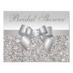 Printed Silver Sequins Bow & Diamond Bridal Shower Invite