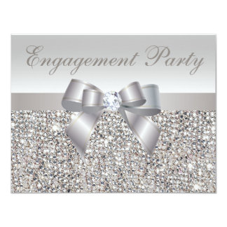 Printed Silver Sequins, Bow & Diamond Engagement 4.25x5.5 Paper Invitation Card