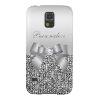 Printed Silver Sequins, Bow & Diamond Image Case For Galaxy S5