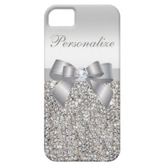 Printed Silver Sequins, Bow & Diamond iPhone 5 Cover