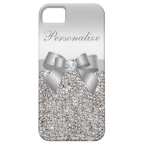 Printed Silver Sequins, Bow & Diamond iPhone SE/5/5s Case