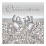 Printed Silver Sequins, Bow & Diamond Quinceanera Custom Invitations