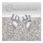 Printed Silver Sequins, Bow & Diamond Quinceanera Custom Invitations