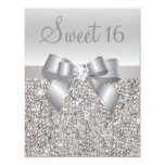 Printed Silver Sequins, Bow & Diamond Sweet 16 Custom Invites