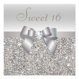 Printed Silver Sequins, Bow & Diamond Sweet 16 Personalized Invitations