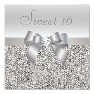 Printed Silver Sequins, Bow & Diamond Sweet 16 5.25x5.25 Square Paper Invitation Card