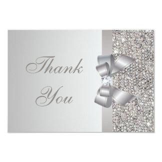 Printed Silver Sequins, Bow & Diamond Thank You 3.5x5 Paper Invitation Card