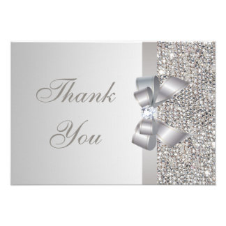 Printed Silver Sequins Bow Diamond Thank You Personalized Invitations