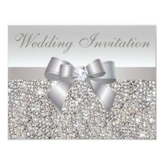 Printed Silver Sequins, Bow & Diamond Wedding 4.25x5.5 Paper Invitation Card