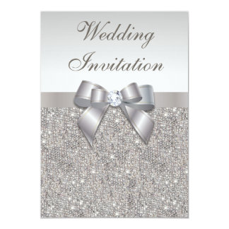 Printed Silver Sequins Diamonds and Bow Wedding 5x7 Paper Invitation Card