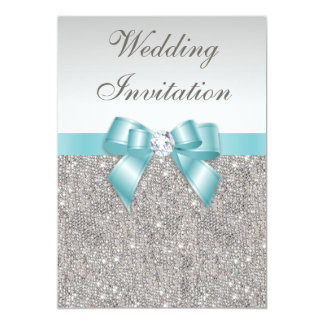 Printed Silver Sequins Diamonds Teal Bow Wedding Card