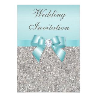"Printed Silver Sequins Diamonds Teal Bow Wedding 5"" X 7"" Invitation Card"