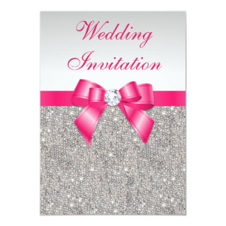 Printed Silver Sequins Hot Pink Bow Wedding 5x7 Paper Invitation Card