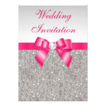 Printed Silver Sequins Hot Pink Bow Wedding Invitations