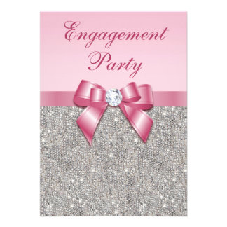 Printed Silver Sequins Pink Bow Engagement Party Invite