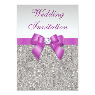 Printed Silver Sequins Radiant Orchid Bow Wedding 5x7 Paper Invitation Card