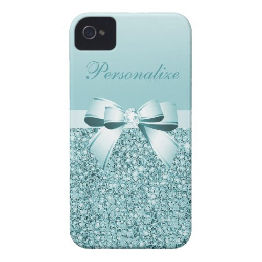 Printed Teal Blue Sequins, Bow & Diamond iPhone 4 Case