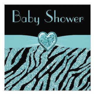 Printed Teal Heart & Zebra Glitter Baby Shower Announcements