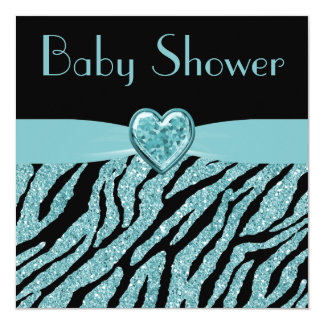 Printed Teal Heart & Zebra Glitter Baby Shower 5.25x5.25 Square Paper Invitation Card