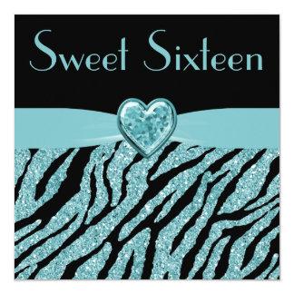 Printed Teal Heart & Zebra Glitter Sweet 16 5.25x5.25 Square Paper Invitation Card