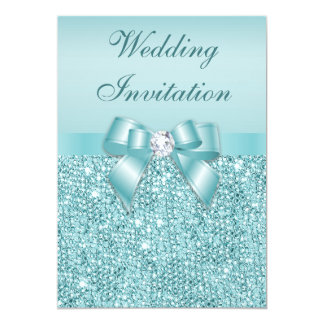 """Printed Teal Sequins Diamonds Faux Bow Wedding 5"""" X 7"""" Invitation Card"""
