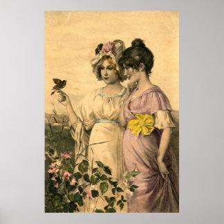 Printemps Springtime Vintage French Art Poster