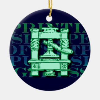 Printing Press Ceramic Ornament