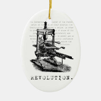 Printing Press = REVOLUTION! Double-Sided Oval Ceramic Christmas Ornament