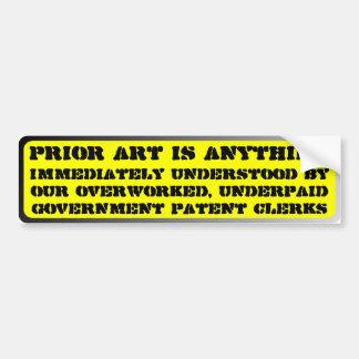 Prior art is anything immediately understood ... car bumper sticker
