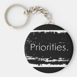 Prioridades del Grunge Llavero Redondo Tipo Pin