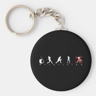 Priorities Black Keychain