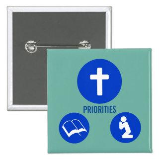 Priorities - Cross, Read, Pray Pinback Button