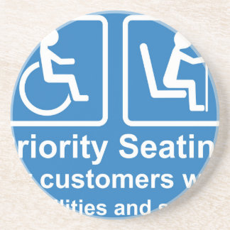 Priority Seating for customers with disabilities a Drink Coaster
