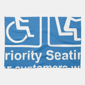 Priority Seating for customers with disabilities a Hand Towel