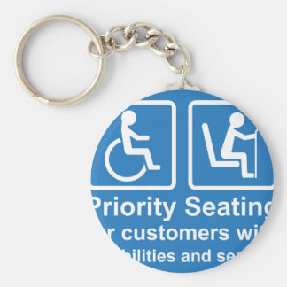 Priority Seating for customers with disabilities a Keychain