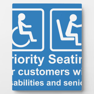 Priority Seating for customers with disabilities a Plaque