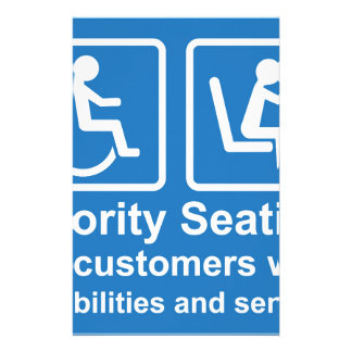 Priority Seating for customers with disabilities a Stationery