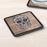 Prisarts Skull Dia de los Muertos Coasters Posavasos De Bebidas