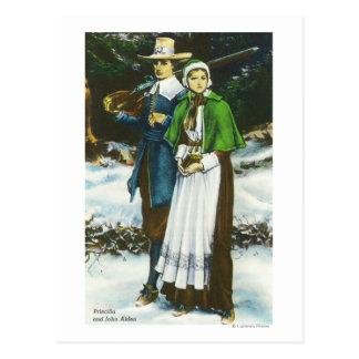 Priscilla and John Alden Scene Postcard