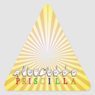 PRISCILLA ASL FINGERSPELLED NAME SIGN TRIANGLE STICKER
