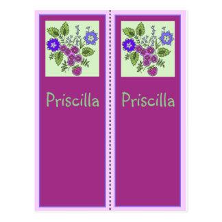 Priscilla Personalized Bookmark Postcard
