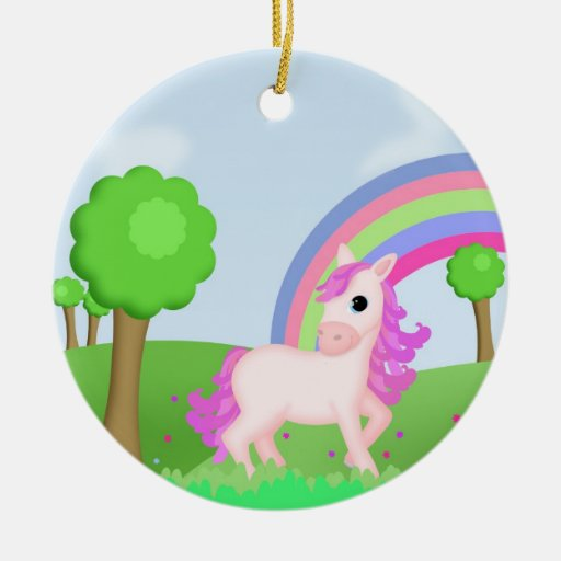 Priscilla the Pink Pony in Colorful Fields Christmas Tree Ornaments