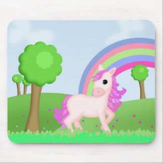 Priscilla the Pink Princess Pony in Colorful Field Mousepad