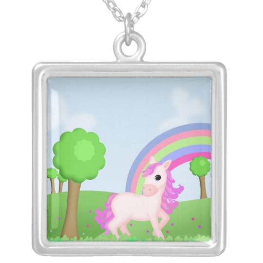 Priscilla the Pink Princess Pony in Colorful Field Silver Plated Necklace