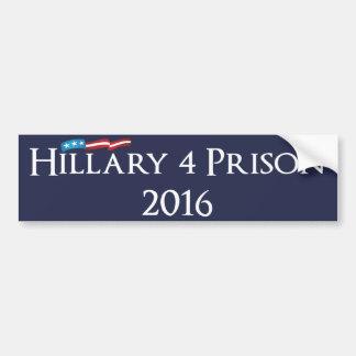 Prisión 2016 de Hillary Clinton 4 Pegatina Para Auto
