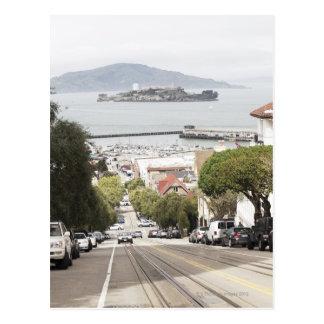 Prisión de Alcatraz vista de San Francisco Tarjeta Postal