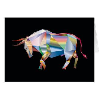 Prism Bull Geometric Ranch Cow Rainbow Card
