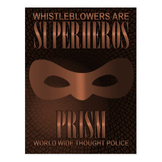 PRISM - WORLD WIDE THOUGHT POLICE- Bronze Postcard