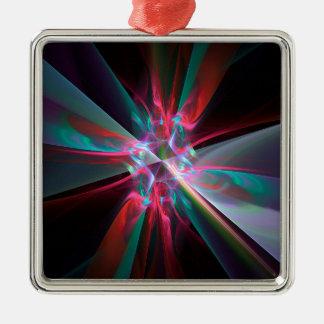 Prisma del electrón, fractal hermoso adorno navideño cuadrado de metal